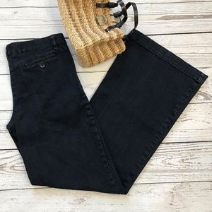 Theory Flared Trouser MidRise Dark Wash Blue Jeans